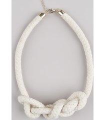 colar feminino em corda com nó bege