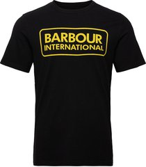 b.intl essential large logo tee t-shirts short-sleeved svart barbour