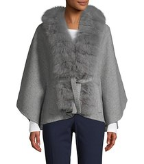 made for generation fox fur-trim cashmere & wool-blend cape