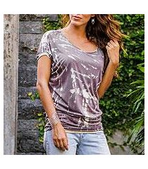 tie-dyed rayon jersey ruched tee, 'aspirations' (indonesia)