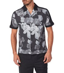 paige markell slim fit floral stretch linen blend short sleeve button-up shirt, size medium in black multi at nordstrom