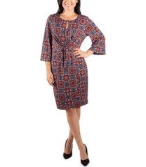 ny collection printed tie-waist sheath dress