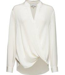 long sleeved collarless soft draped sleeved blouse blus långärmad vit 3.1 phillip lim