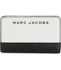 compact colorblock leather bi-fold wallet