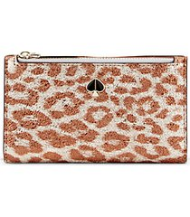 metallic leopard-print small slim bifold wallet