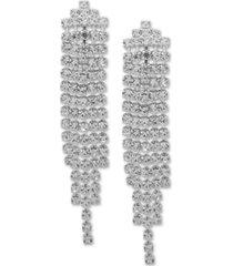 anne klein silver-tone rhinestone linear drop earrings