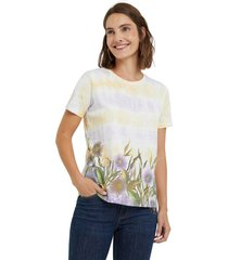 camiseta blanco-amarillo-morado desigual