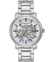 kenneth cole new york men's silver-tone stainless steel bracelet watch, 42.5mm