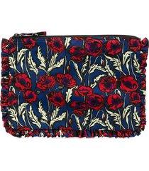 la doublej floral-print ruffled clutch bag - blue