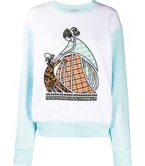 lanvin patchwork logo sweatshirt - blue