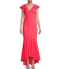 sachin & babi women's mason ruffle high-low gown - melon - size 10