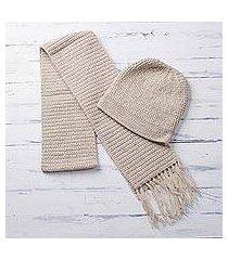 alpaca blend hat and scarf, 'royal champagne' (peru)