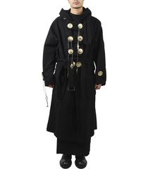 yohji yamamoto black big button coat