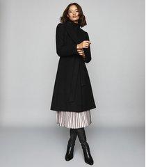 reiss hessie - wool blend belted overcoat in black, womens, size 10