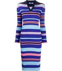 sjyp striped polo shirt midi dress - blue