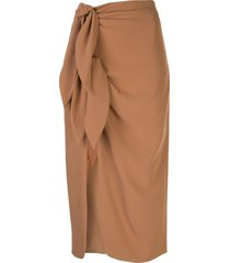 cinq a sept miriam wrap front midi skirt - brown