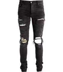 aged black distressed denim jeans