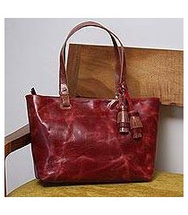 leather shoulder bag, 'beautiful elegance in wine' (mexico)