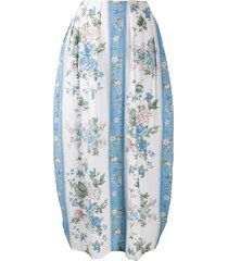 marine serre floral printed ruched skirt - white