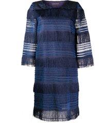 alberta ferretti layered fringe dress - blue