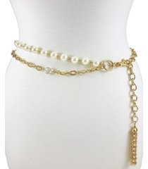 fashion focus accessories 2 row pearl & stone chain
