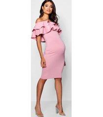 zwangerschap midi jurk met open schouders en ruches, woestijnroos