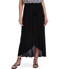 women's 1.state wrap front crinkle gauze maxi skirt, size medium - black