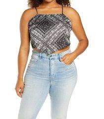 plus size women's bp. handkerchief crop top, size 3x - black