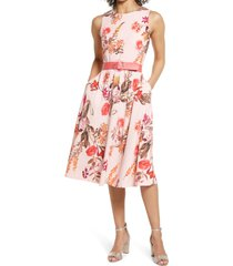 women's vince camuto floral belted fit & flare dress, size 16 - pink
