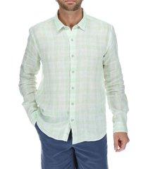 camisa lino linenbicolo verde rockford
