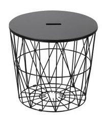 mesa lateral redonda asteca preta