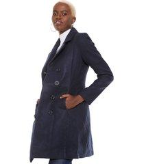 casaco sobretudo facinelli by mooncity botões azul-marinho - kanui