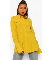 getailleerde blouse met textuur, chartreuse