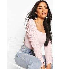 crepe square neck ruched sleeve top, blush