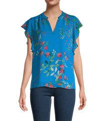 calvin klein women's printed ruffle sleeve blouse - grotto - size m