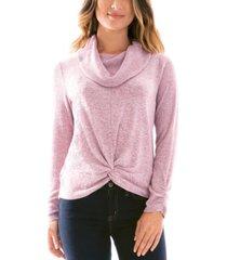 bcx juniors' cowlneck twist-hem sweater