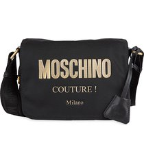 moschino women's logo crossbody bag - black