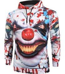 halloween clown bloody star painting print pullover hoodie