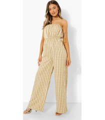 strapless gingham wide leg jumpsuit, stone