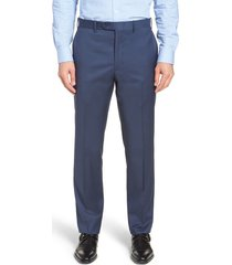 men's big & tall john w. nordstrom torino classic fit flat front solid dress pants, size 44 x unhemmed - blue