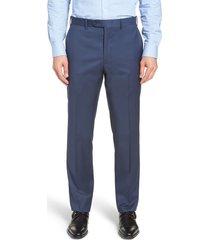 men's big & tall john w. nordstrom torino classic fit flat front solid dress pants, size 48 x - blue