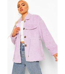 faux fur teddy tussenjas, lilac
