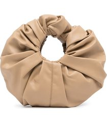 gia studios croissant ruched-detail clutch bag - brown