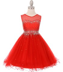 red short length sparkling hand bead rhinestones on illusion tulle girl dress