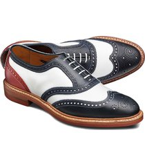 handmade white navy oxford shoes, dress casual brogue wing toe shoes trendy shoe