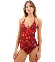 body rosa chá basic starfish beachwear estampado feminino (starfish, gg)
