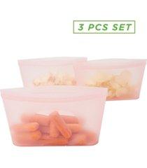 mind reader 3 pack reusable silicone food storage bag, leakproof