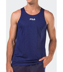 camiseta regata fila basic train melang azul masculina