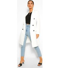 double breasted tailored longline blazer, white