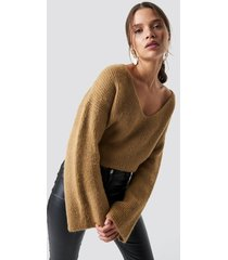 iva nikolina x na-kd loose fit knitted sweater - beige
